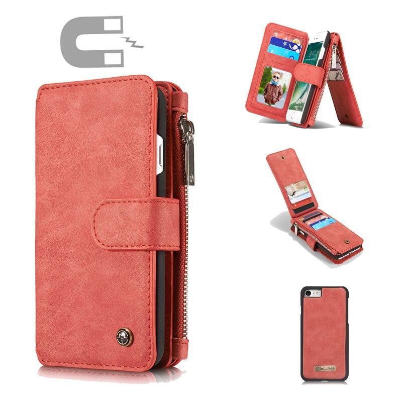 bilder für Für Apple Iphone 7 Magnetic abnehmbare 2 in 1 Karte Geldbörse Für Apple iPhone7 Fall Brieftasche Leder Damen mädchen