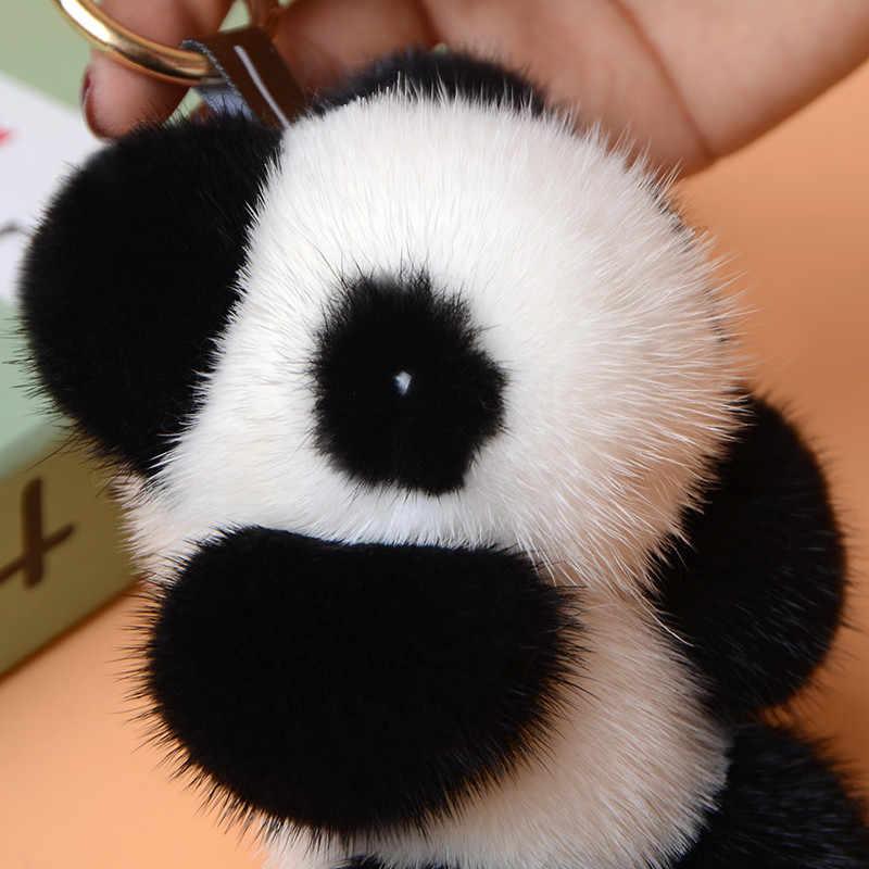 Bonito bonito panda animal deluxe pele de vison chaveiro autêntico pom pom pom chaveiro pingente de carro das mulheres encantos pingente titular chaveiro