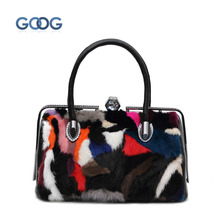 Fur fur bag fox fur rabbit fur leather woolen jacket European and American diamond mink hair handbag diagonal leisure package