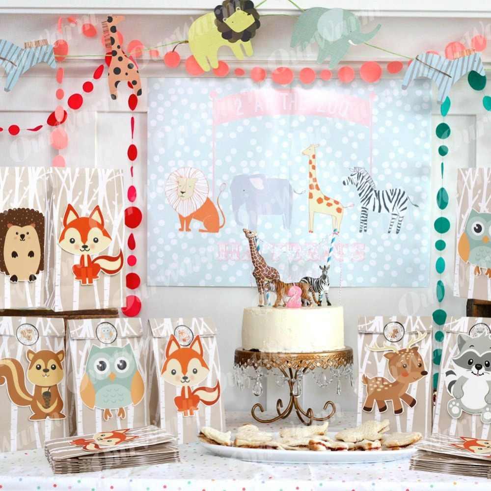 OurWarm 12 قطعة سفاري الحيوانات ورقة شنطة هدايا حفلة الغابة زينة حلوى حلوة التعبئة والتغليف أكياس الغابات حفلة عيد ميلاد لوازم
