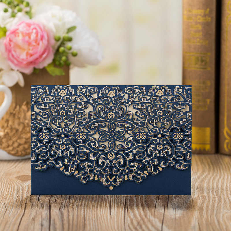 1pcs Sample Blue Laser Cut Luxury Flora Wedding Invitation Card Elegant Lace Customize Envelopes Birthday Wedding Party Supplies