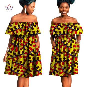 2019 أفريقيا نمط الملابس زائد الحجم المرأة مثير مائل العنق اللباس أفريقيا بازان الثراء النسيج الشمع طباعة لطيف ميدي فساتين WY790