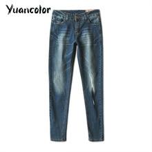 Осень джинсы женские эластичные тощие середине талии карандаш брюки для похудения молния джинсы весна женский старинные стиль джинсовые Брюки