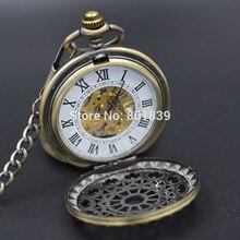 Vintage Roman Number Steampunk Mechanical Pocket Watch Men Women Double Open Case Half Hunter Pendant Watches