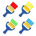 4pcs/lot yellow sponge brush seal sponge paint brush original plastic handle children's painting graffiti kids drawing toys