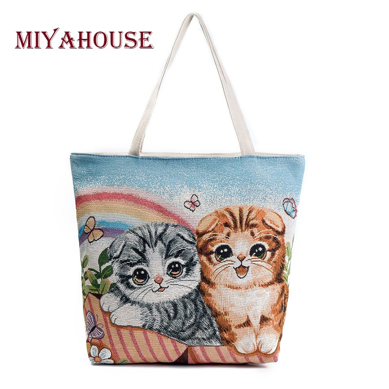 Miyahouse large Capacity Shoulder Bag Women Cute Cats Printed Canvas Handbag Shopping Bag Daily User Casual Tote Bags Female miyahouse cute cat printed beach bag women large capacity shopping bags vintage female single shoulder bag canvas ladies handbag
