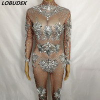 Sexy Nude Color Rhinestones Jumpsuit Long Sleeve Stretch Glass Crystals Skinny Rompers Female Club Bar Luxury Stage Wear Costume