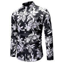 Mens Shirts 2019 High Quality Fashion Men Long Sleeve Hawaiian Shirt Spring Autumn Casual Floral For Asian Size XXXL