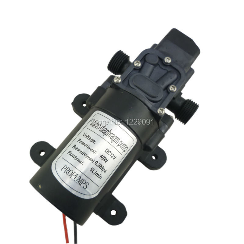 Small dc 12v and 24v water pump 60W 5LPM high pressure self priming diaphragm mini pump automatic pressure switch цена