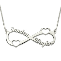 Double Heart Infinity Name Necklace Sterling Silver Personalized Eternity Love Necklace For Women