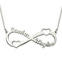 Đôi Tim Infinity Tên Necklace Sterling Silver Cá Nhân Eternity Tình Yêu Vòng Cổ cho Phụ N