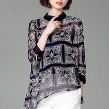 PADEGAO Women Top Spring 2019 New Vertical Collar Printing Bat Irregular Chiffon Casual Shirt Female Long Sleeves Loose Clothes black chiffon loose bat sleeves cape shawl top