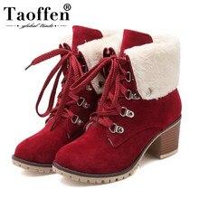 89a485e4 TAOFFEN tamaño 34-43 gruesa señoras tobillo de piel botas de Mujer Zapatos  de tacón alto botas con zapatos de piel de invierno d.