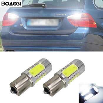 BOAOSI 2x 1156 P21W LED 7.5W COB Chip backup reverse light lamp For BMW 3/5 SERIES E30 E36 E46 E34 X3 X5 E53 E70 Z3 Z4 image