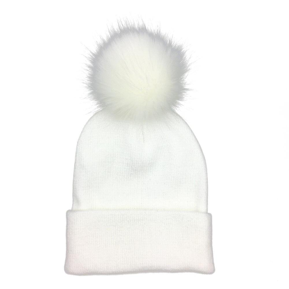 new Winter Women Kids Warm Knit Hat Family Crochet  Woolen Fur Beanie Ski Cap Women Knitted Beanies Pompom  for girls