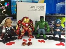 Kissen New 4pcs/lot 8cm PVC Thor Hulk Iron Man Captain America Black Widow Hawkeye Loki action figure toy