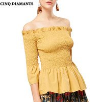 CINQ DIAMANTS Spalle Top Donne Della Camicia Sottile Bianco Nero Giallo Camicetta Elegante Camicetta blanco amarillo poleras chemise femme