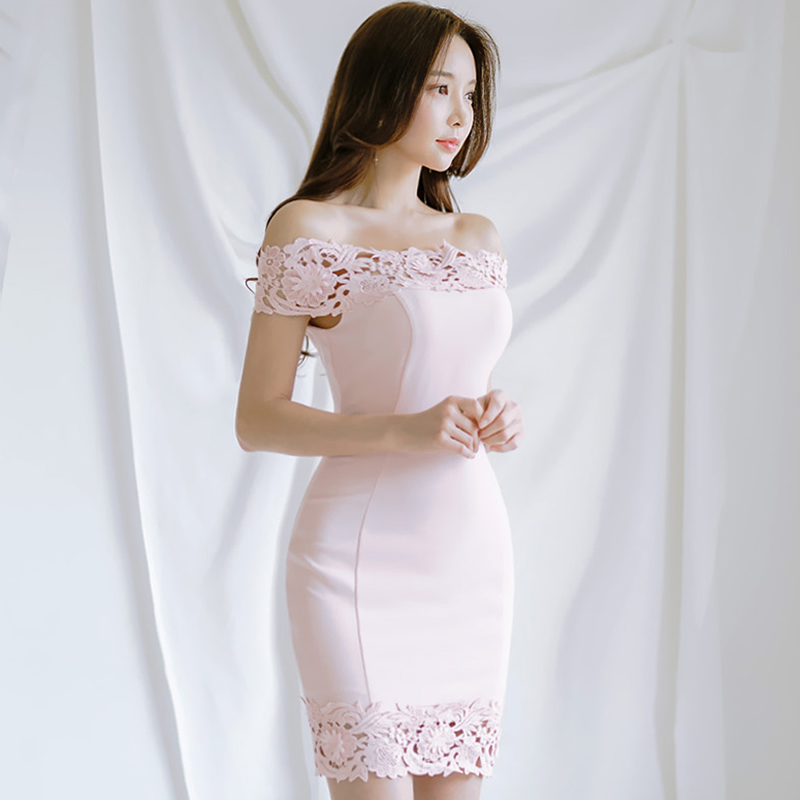 2018 Summer Women Party Cloth Slash Neck Sexy Lace Patchwork Slim Bodycon Mini Club Dress