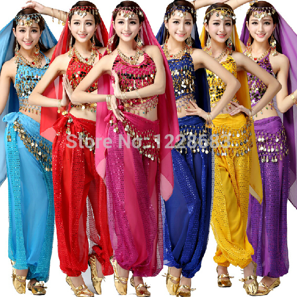 7ef377501598d Girls Bollywood Dance Costumes Indian Belly Dance Costumes Pants And Top  2pieces Bra Set For Women
