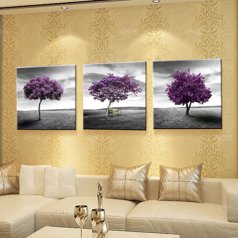 Contemporary Purple Wall Art Canvas Images - Wall Art Design ...
