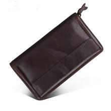 Large Capacity Genuine Leather Clutch Wallet Men Purse Double Zipper Male Leather Wristlet Handbag Wallet Long Phone Bag Clutch все цены