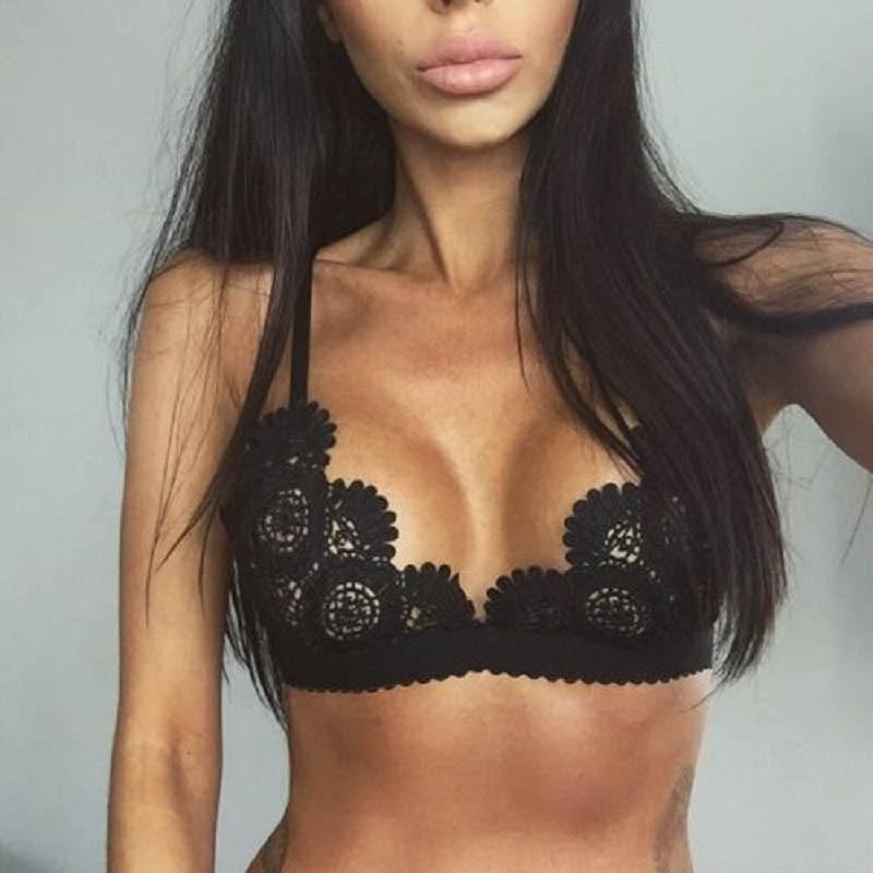 Buy Sexy Black Noir Women Underwear Lace Bra Girl Female Seamless Brassiere Transparent Wireless Sexy Bras Lingerie Intimates