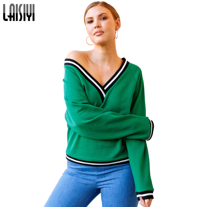 LAISIYI Black White Striped Patchwork V-neck Sexy Women Hoodies Sweatshirts Casual Long Sleeve Pullover Hoodie ASHO20118