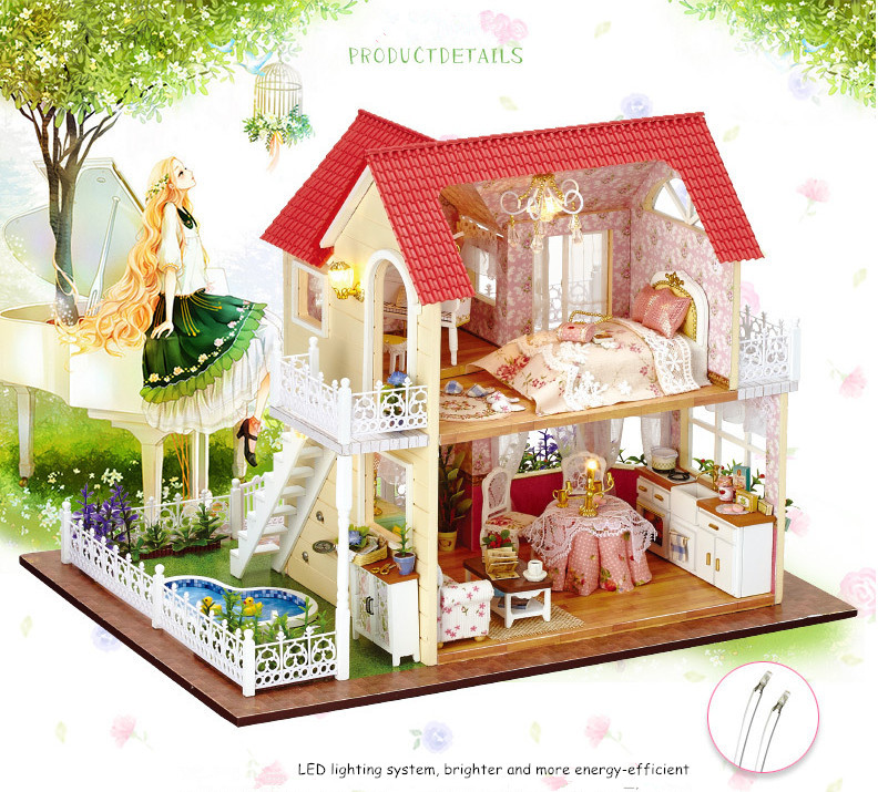 Diy Miniature Doll House Include Furniture 3D Wooden Puzzle Building Model  Dollhouse For Birthday Gifts Toys Princess Cottage In Doll Houses From Toys  ...