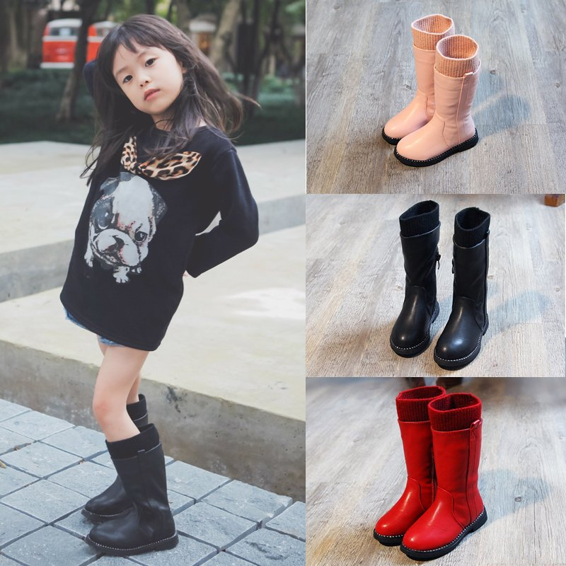 WENDYWU 2017 NEW children bootgirls cotton boots cildren's warm cotton boots children shoes Long boots 2017 new children