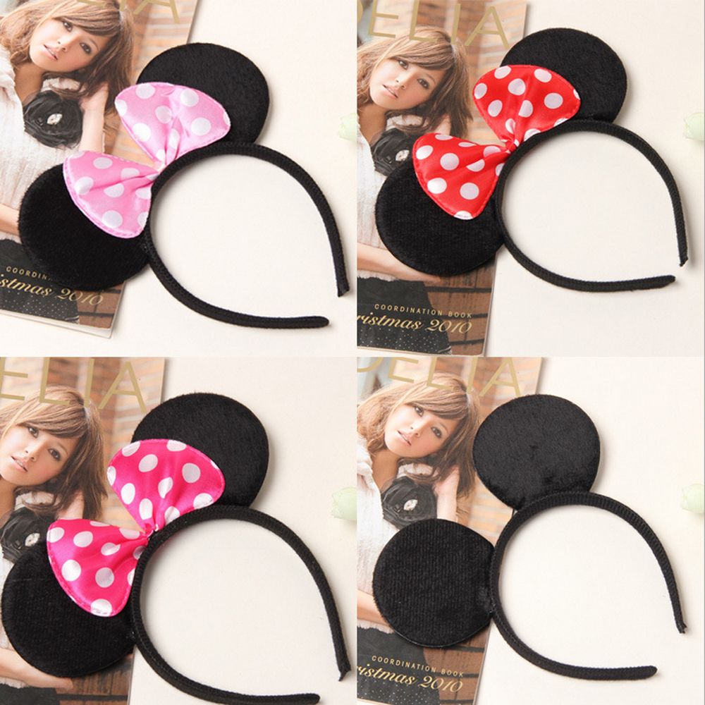 Mickey Minnie Mouse Ears Headband Fancy Dress Polka Dot Spotted Bow Red Pink
