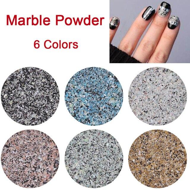 2g Box Colorful Marble Powder Shining Nail Glitter Powders
