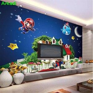 3D обои Супер Марио мультфильм Фреска детская комната игровая площадка детский фон обои Звезда Ночной замок живопись