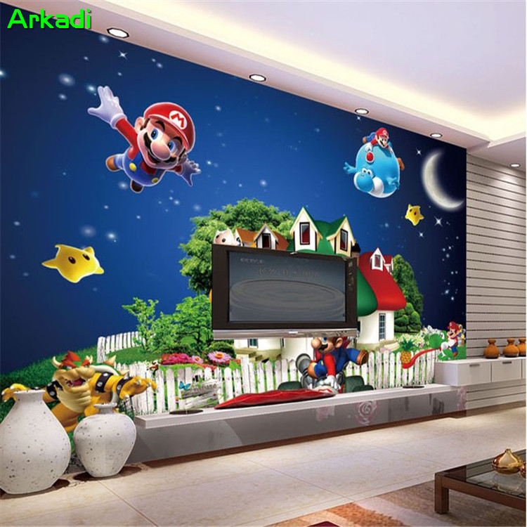 Us 10 23 45 Off 3d Wallpaper Super Mario Cartoon Fresco Children S Room Playground Nursery Background Wallpaper Star Night Castle Painting In