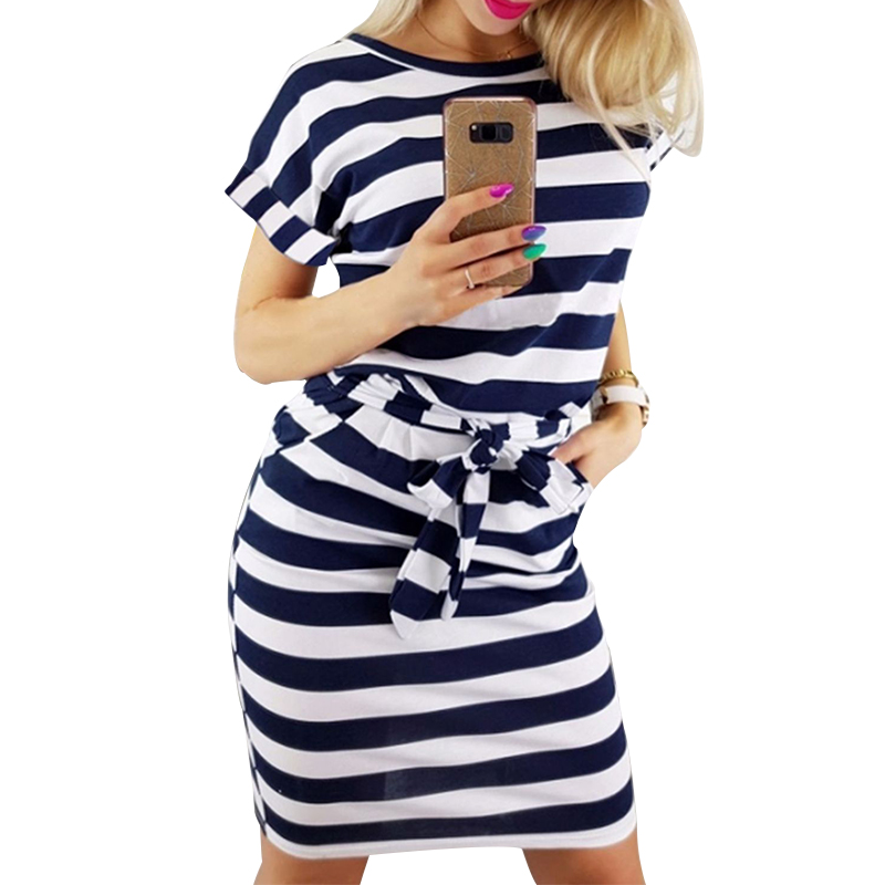 Women Summer Clothes Casual T Shirt Striped <font><b>Dress</b></font> Lace Up Sashes Short Sleeve O Neck Bodycon Ladies <font><b>Dresses</b></font> <font><b>Blue</b></font> Gray Vestidos
