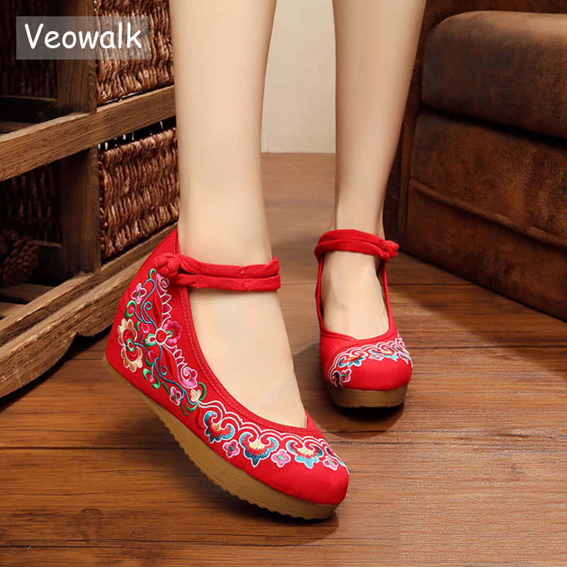 Veowalk Flower Embroidery Women Flat Platform Chinese Style Old Peking Mary Janes Increased Soft Sole Cloth Shoes Woman high quality zealot b5 bluetooth wireless headphones foldable tf card over ear hd headphone headsets with mic