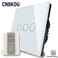 2016 Home Automation Wall Light Switch EU Standard 3gang White Crystal Glass Panel Remote Control Touch