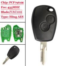 Clé télécommande à 2 boutons, 433mhz, avec puce HITAG AES PCF7961M, lame non coupée VAC102, pour voiture Renault Logan II, Sandero II, 1 pièce, nouveauté