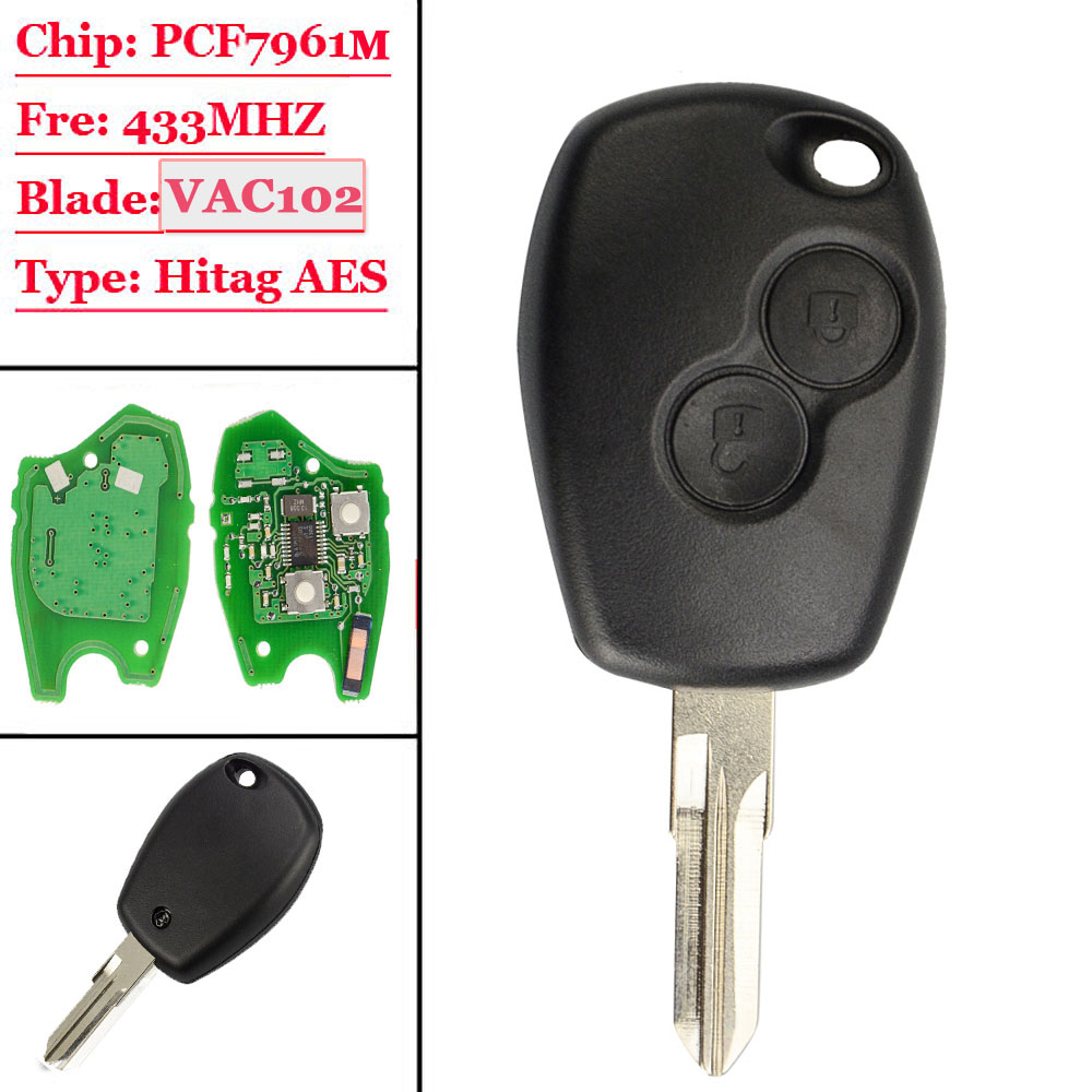New(1Pcs) 2 Button Remote Car Key 433mhz With PCF7961M HITAG AES Chip VAC102 Uncut Blade for Renault Logan II Sandero IINew(1Pcs) 2 Button Remote Car Key 433mhz With PCF7961M HITAG AES Chip VAC102 Uncut Blade for Renault Logan II Sandero II
