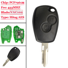New(1Pcs) 2 Button Remote Car Key 433mhz With PCF7961M HITAG AES Chip VAC102 Uncut Blade for Renault Logan II Sandero II