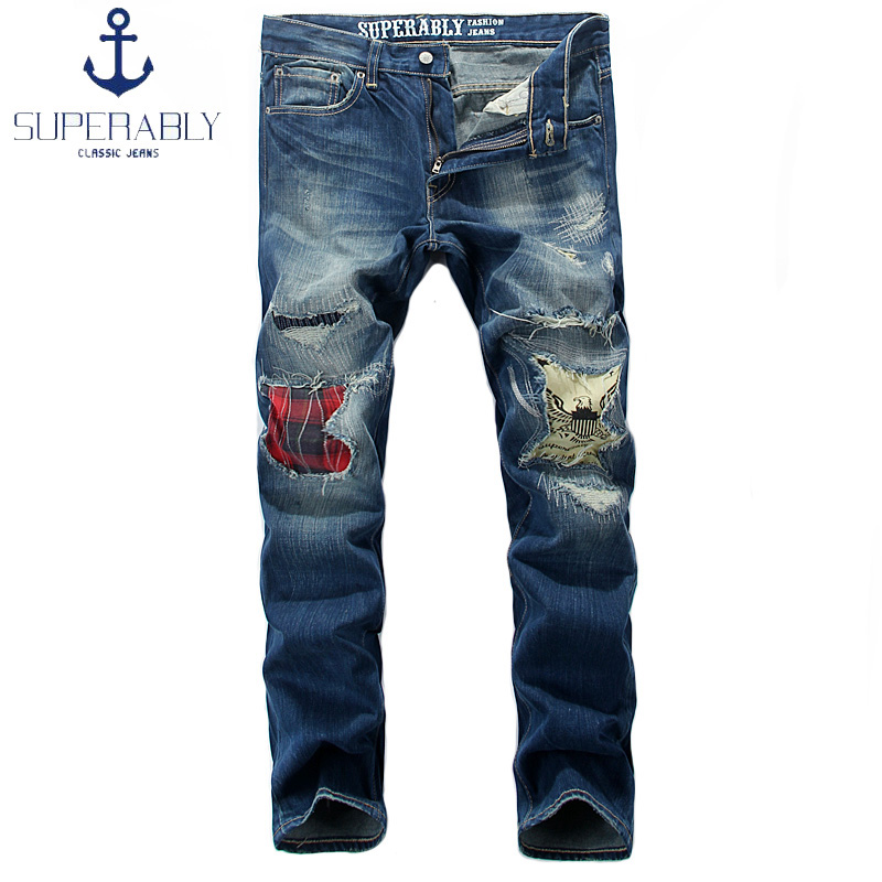 Superably Brand Mens Jeans Blue Color Destroyed Ripped Jeans Men Pants Straight Fit Denim Patchwork Man Streetwear Biker Jeans masculinos 100