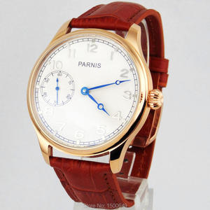 Image 5 - 44mm Parnis white Dial blue hands case Mechanical 6497  Hand Winding mens Watches