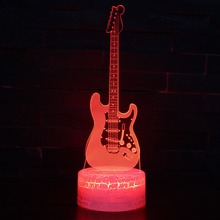 Electric Guitar 3D LED Night Light with 7 Colors USB Table Light for Home Decoration Lamp Visualization Optical Illusion Gift 3d led night light dynamic tractor car with 7 colors light for home decoration lamp amazing visualization optical illusion