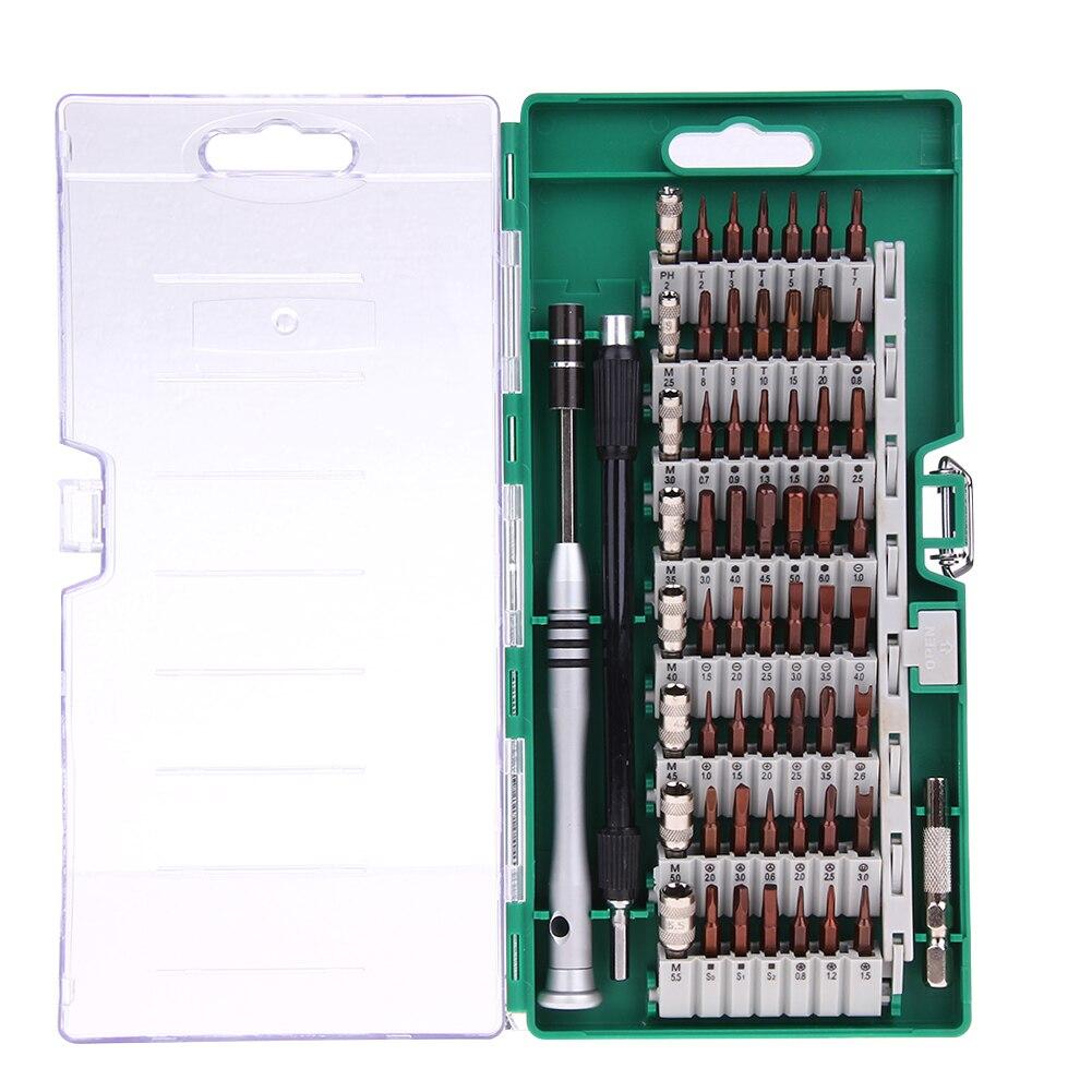 60 en 1 destornillador de precisión conjunto magnética Punta de destornillador Kit de herramienta para PC portátil teléfono móvil compacto reparación mantenimiento con el caso