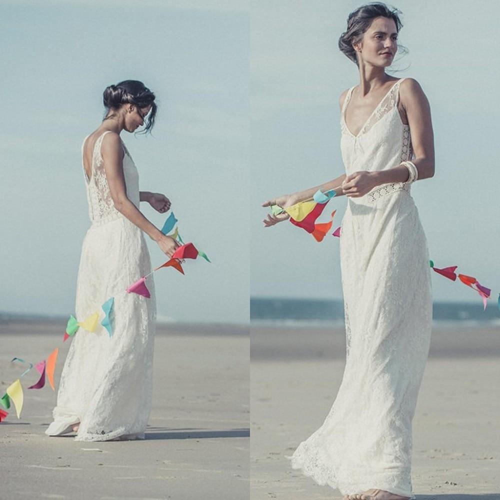Fashion Sale Vestido De Noiva 2018 Bohemian Sheath V Neck Sleeveless Vintage Lace Floor Length Bridal Gown   bridesmaid     dresses