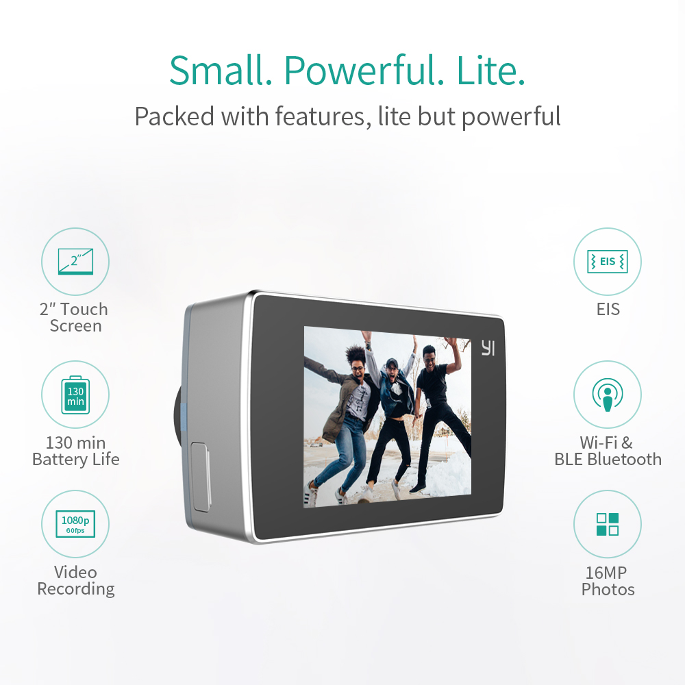 YI Lite caméra d'action 16MP Réel 4 K Sport Caméra avec WIFI Intégré 2 Pouces écran lcd 150 Degrés Objectif Grand Angle noir - 2