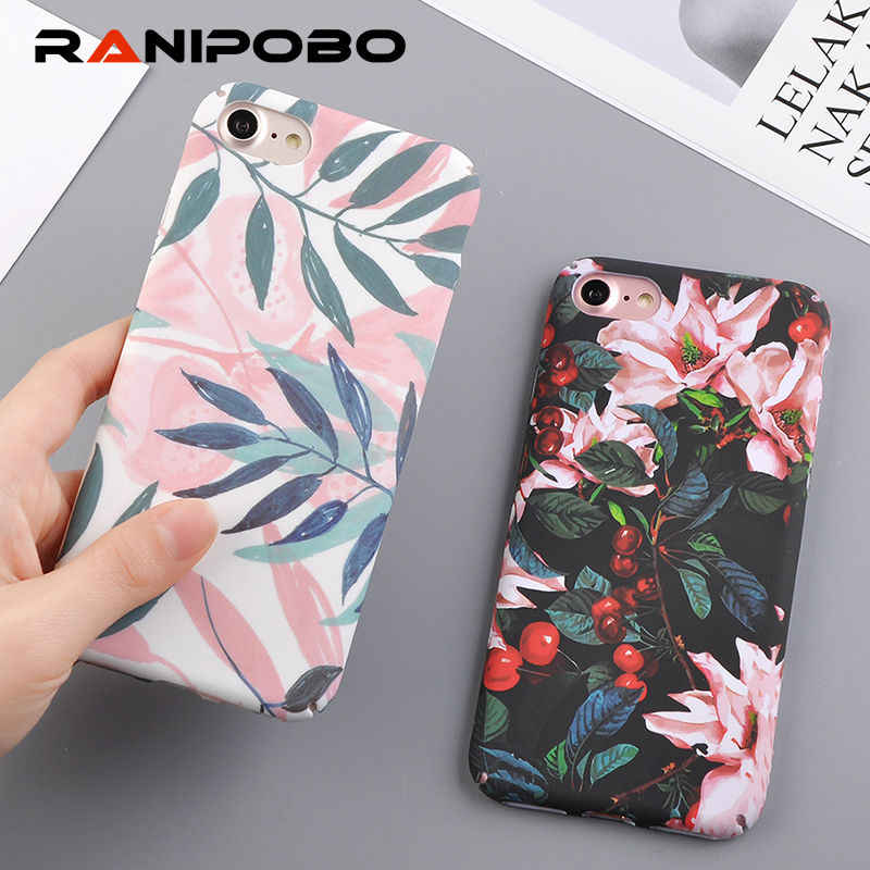 Fashion Cherry Flower Leaf Painting Phone Case For iPhone X XS XR 6 6S Plus 7 8 Plus 5 5S SE Slim Pineapple Marble Hard PC Cover