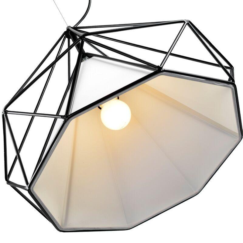 birdcage chandeliers Scandinavian modern minimalist art pyramid iron chandelier creative restaurant lights (3)