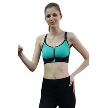 Fitness Bra Top Zipper Front Padded Women Underwear Adjustable Strap Quick Dry Seamless Shirt LM75