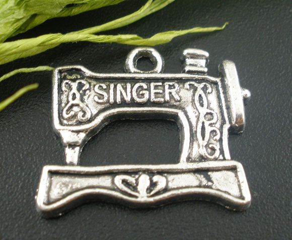 DoreenBeads Zinc metal alloy Charm Pendants Sewing Machine Antique Silver Message Pattern DIY Making 20mm x 18mm ,6 PCs 2015 new image
