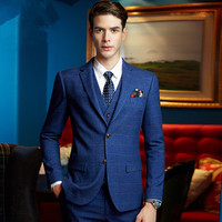 2017 hot selling Men 's Slim Squat Three Pack Set Lattice Business Leisure Suit Wedding Groom Dress Men' s